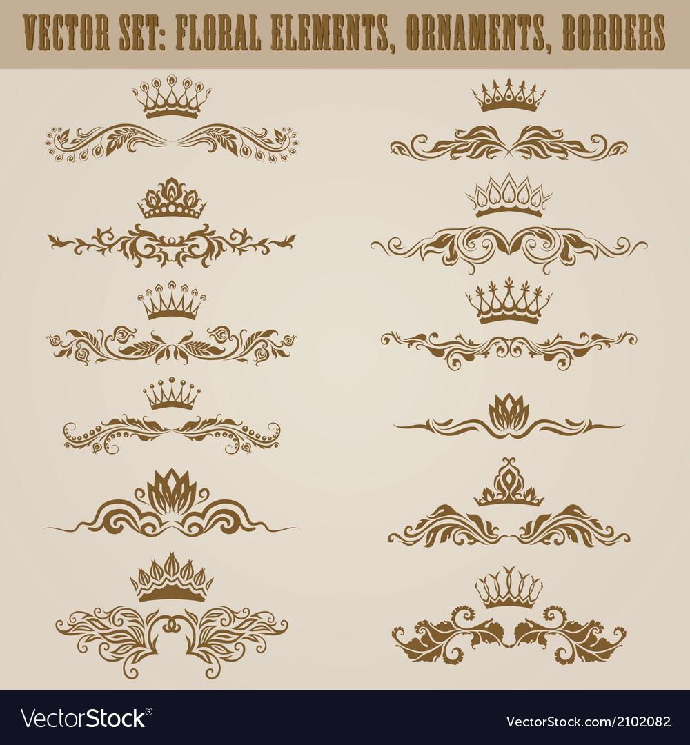 Set of damask ornaments