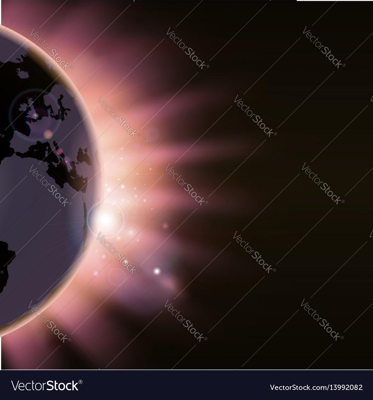 Sun rays burst over the globe