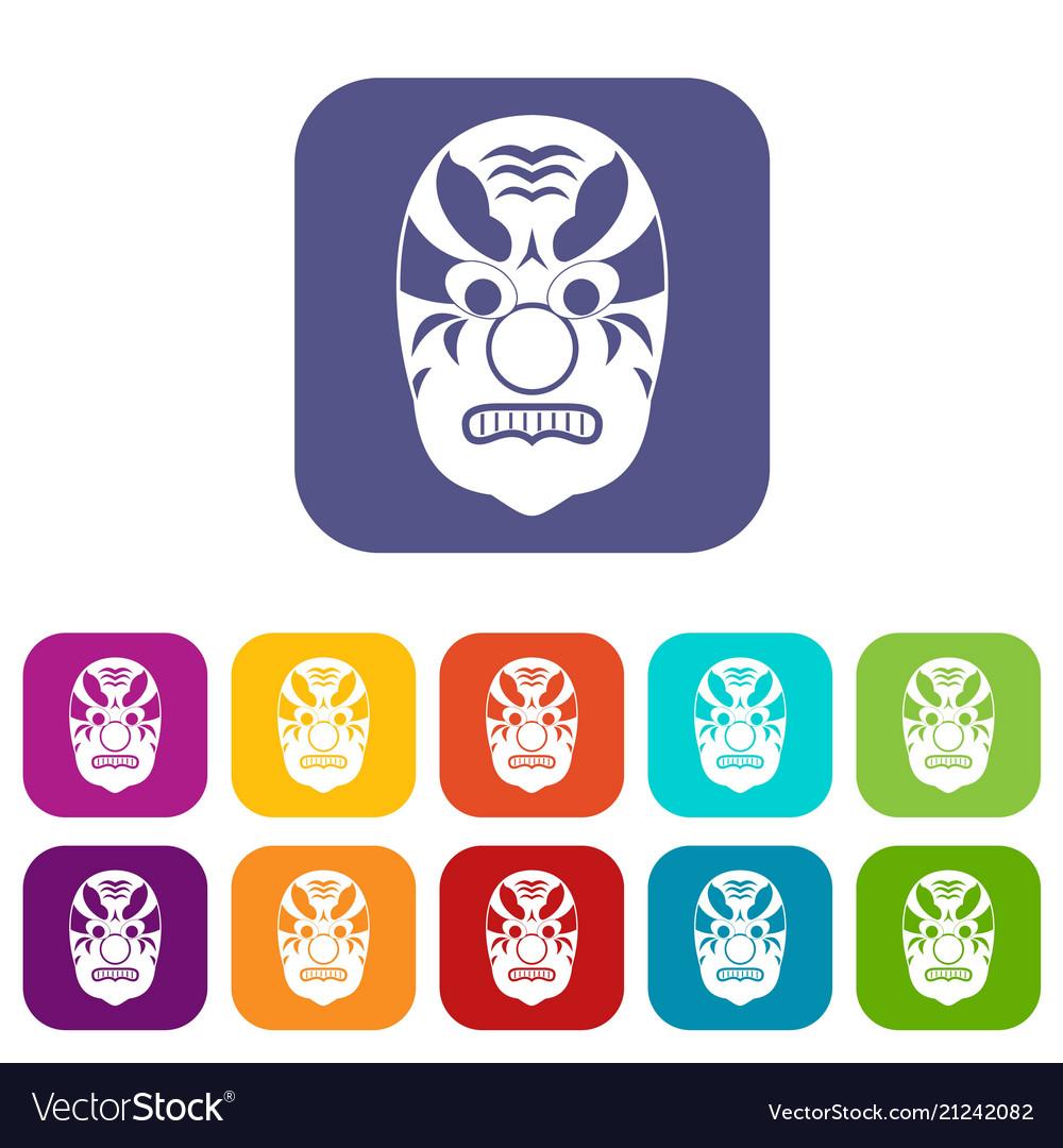 Tribal mask icons set
