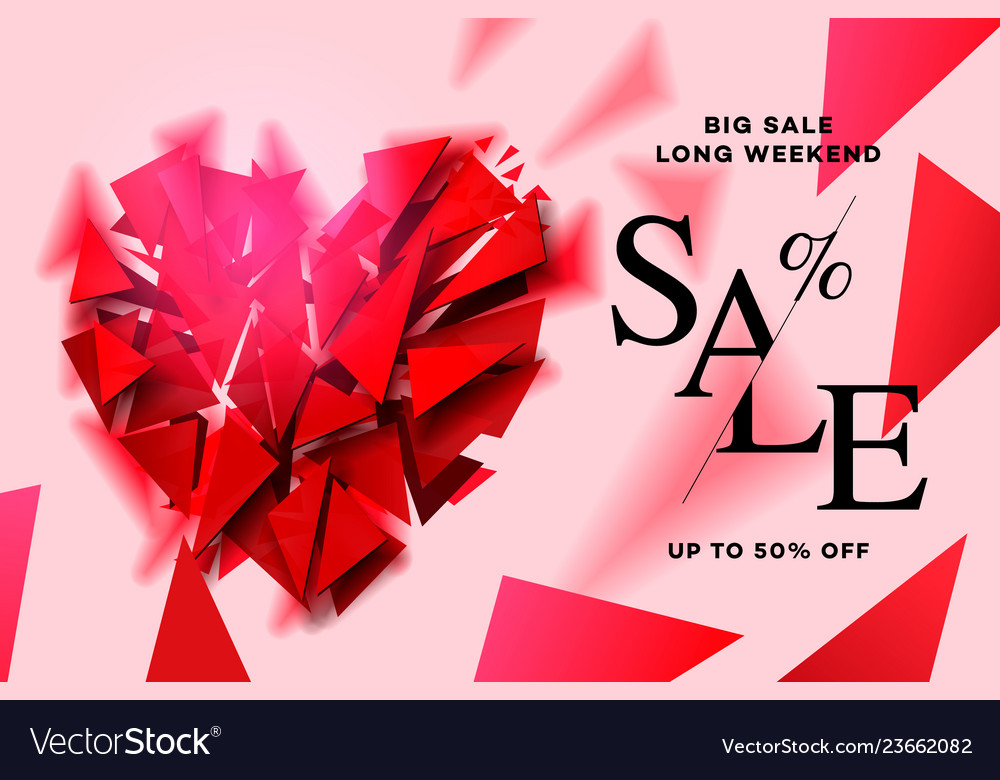 Valentines day sale background with polygonal