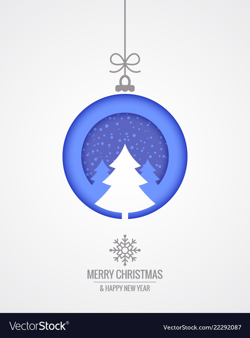 Christmas card with merry xmas paper cut tree on