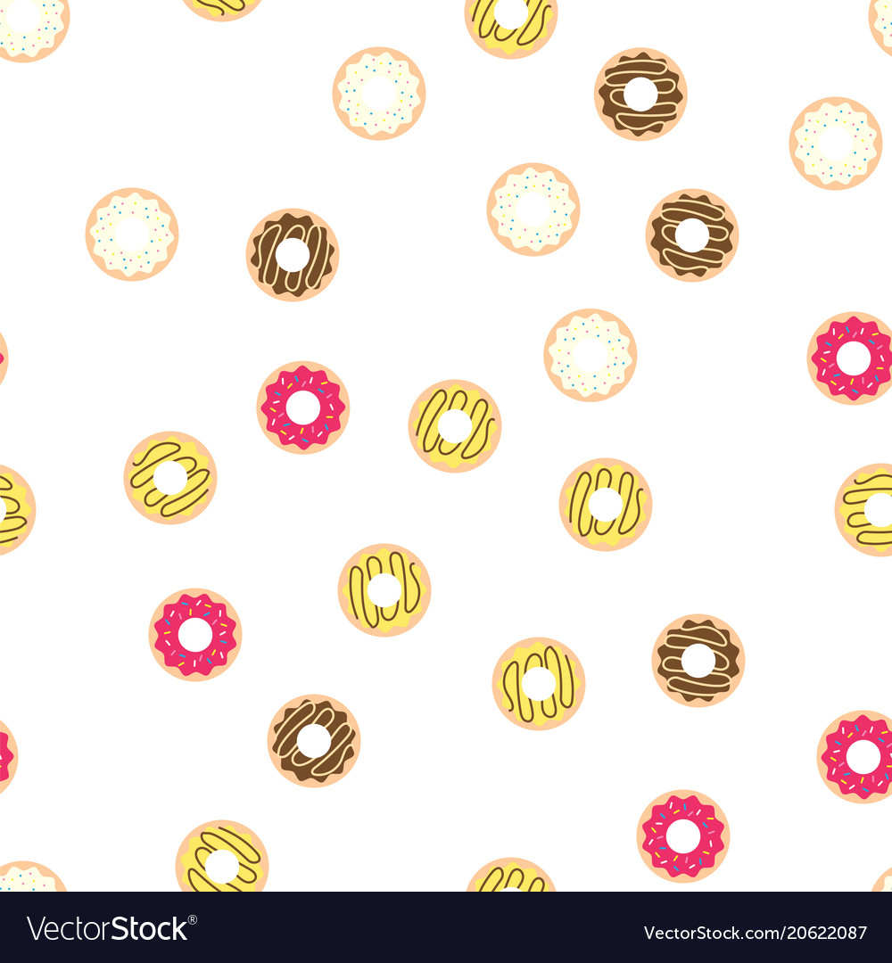 Donuts with colored glaze on pattern background