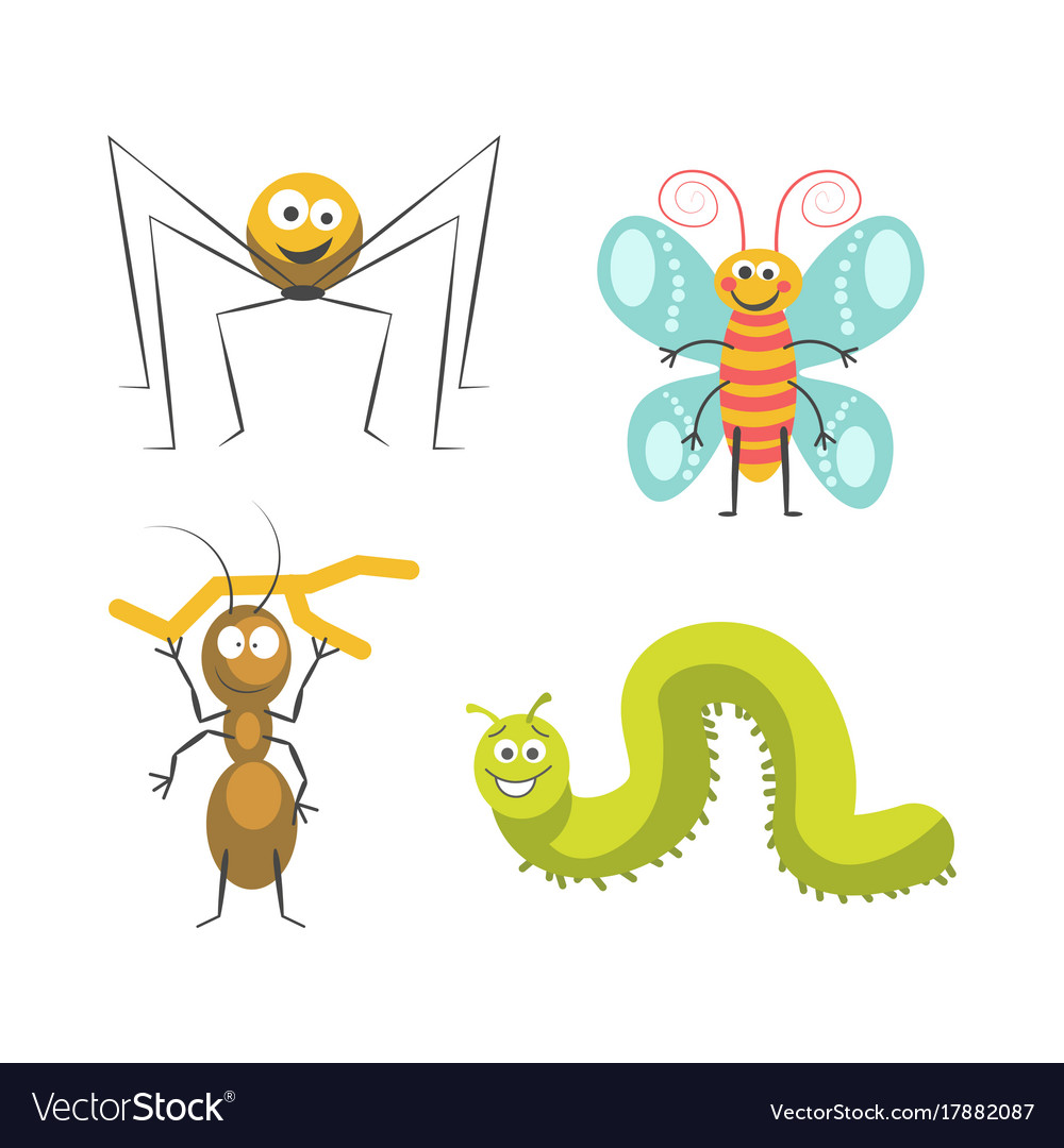 Funny insects with cute friendly faces