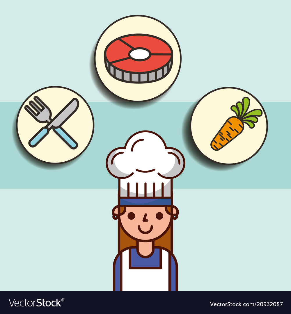 Girl chef cartoon and fish carrot fork knife