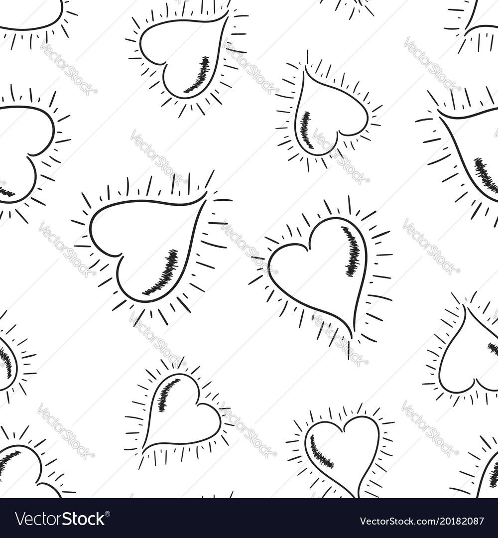 Hand drawn hearts seamless pattern background
