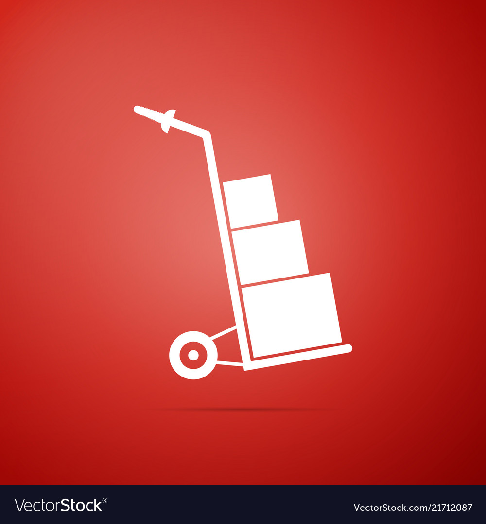 Hand truck and boxes icon on red background