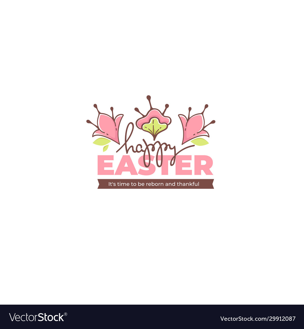 Happy easter doodle floral greating message