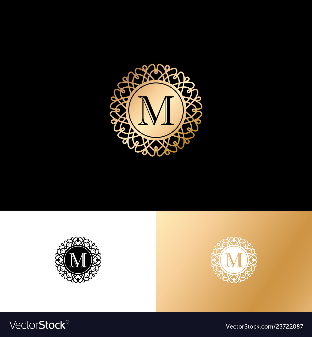 M gold letter monogram gold circle lace ornament
