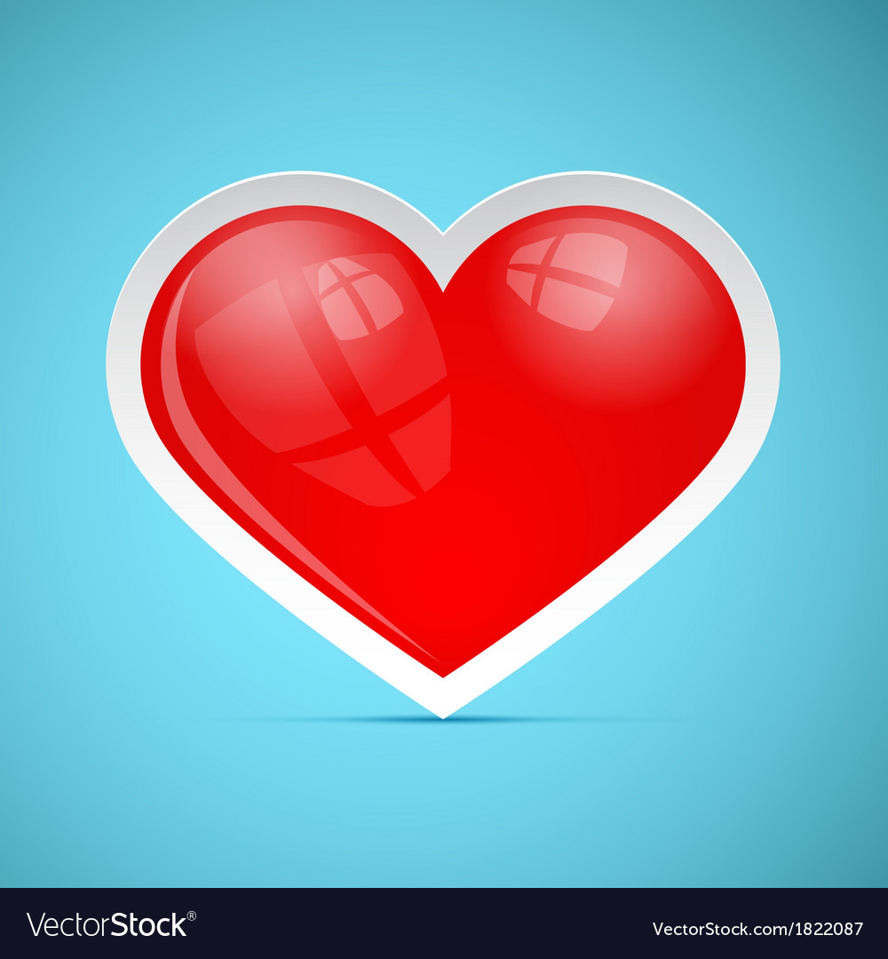 Red 3d Retro Heart on Blue Background