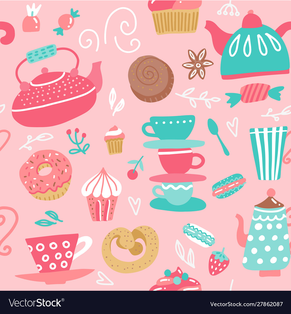 Seamless pattern with tea kettles cups sweets