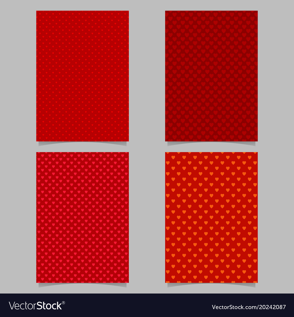Seamless red heart pattern brochure cover vector image
