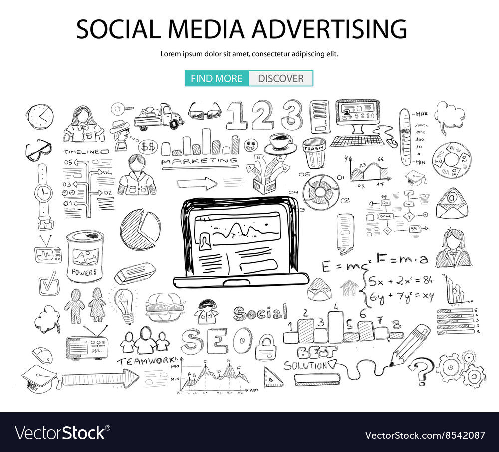 Social Media Advertising concept with Doodle