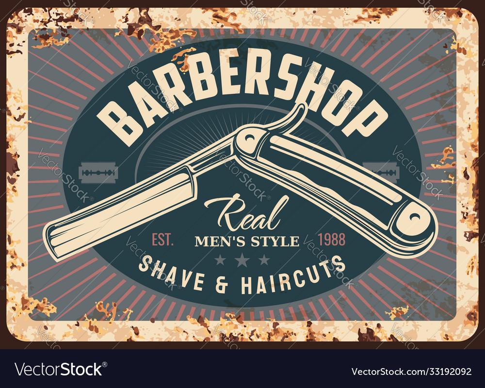 Barber shop metal rusty plate barbershop razor