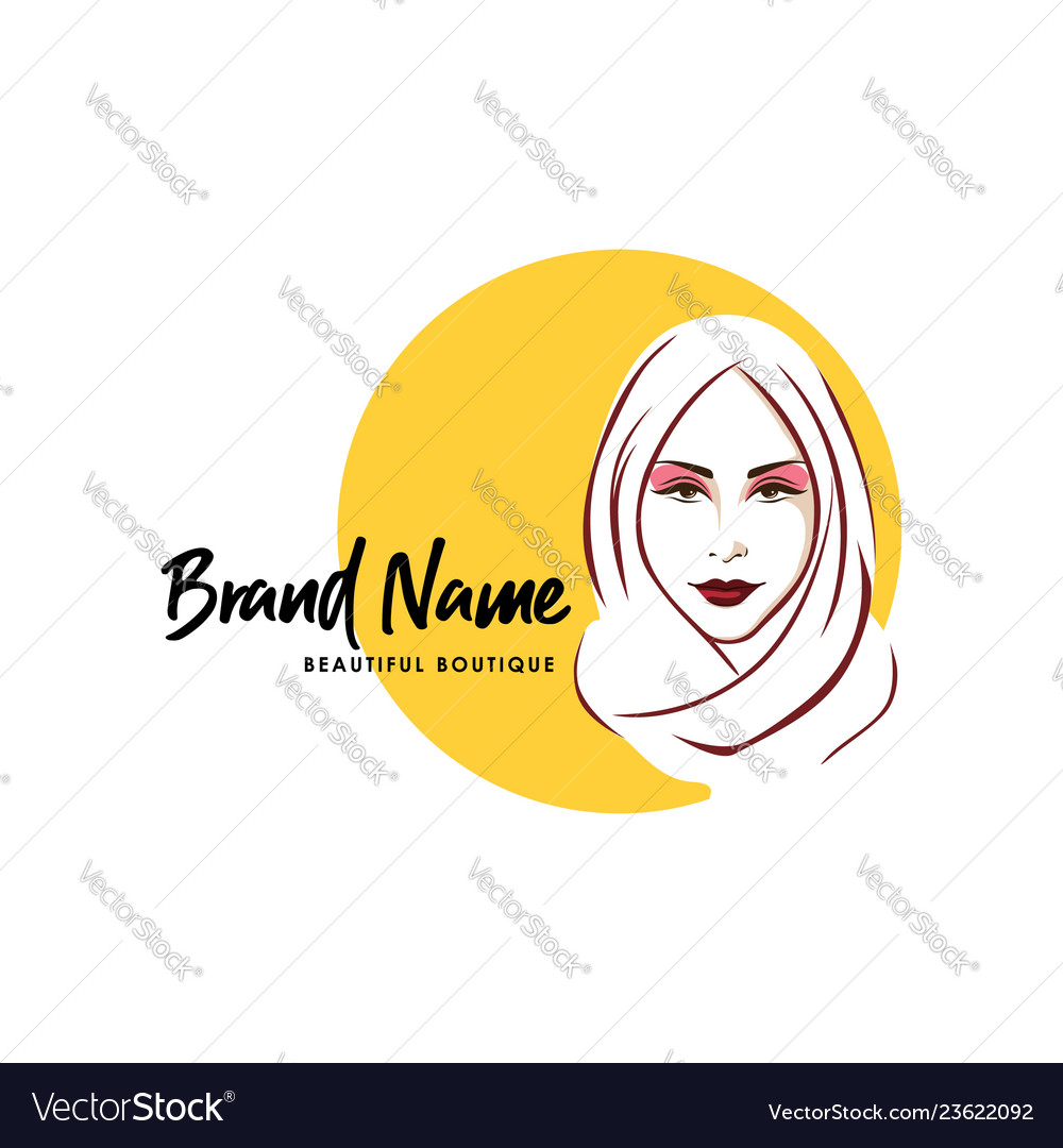 Beautiful stylish hijab girl logo brand line art
