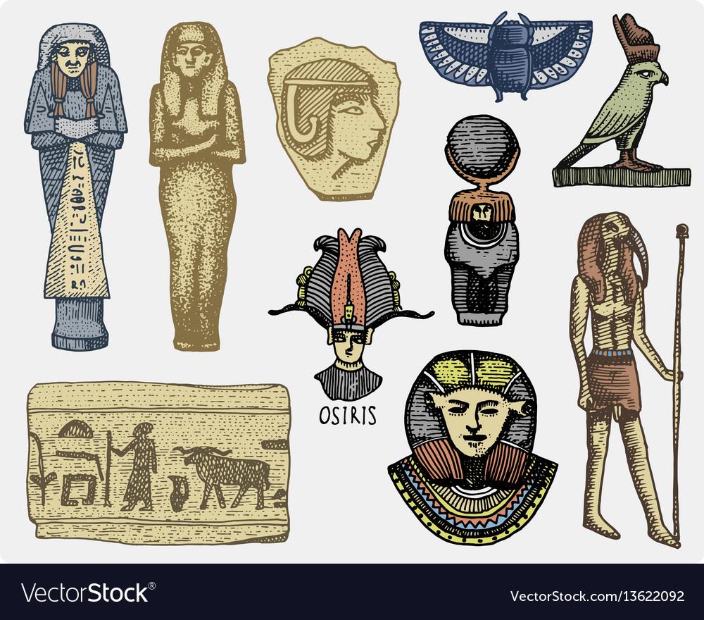 Egyptian symbols pharaon scorob hieroglyphics