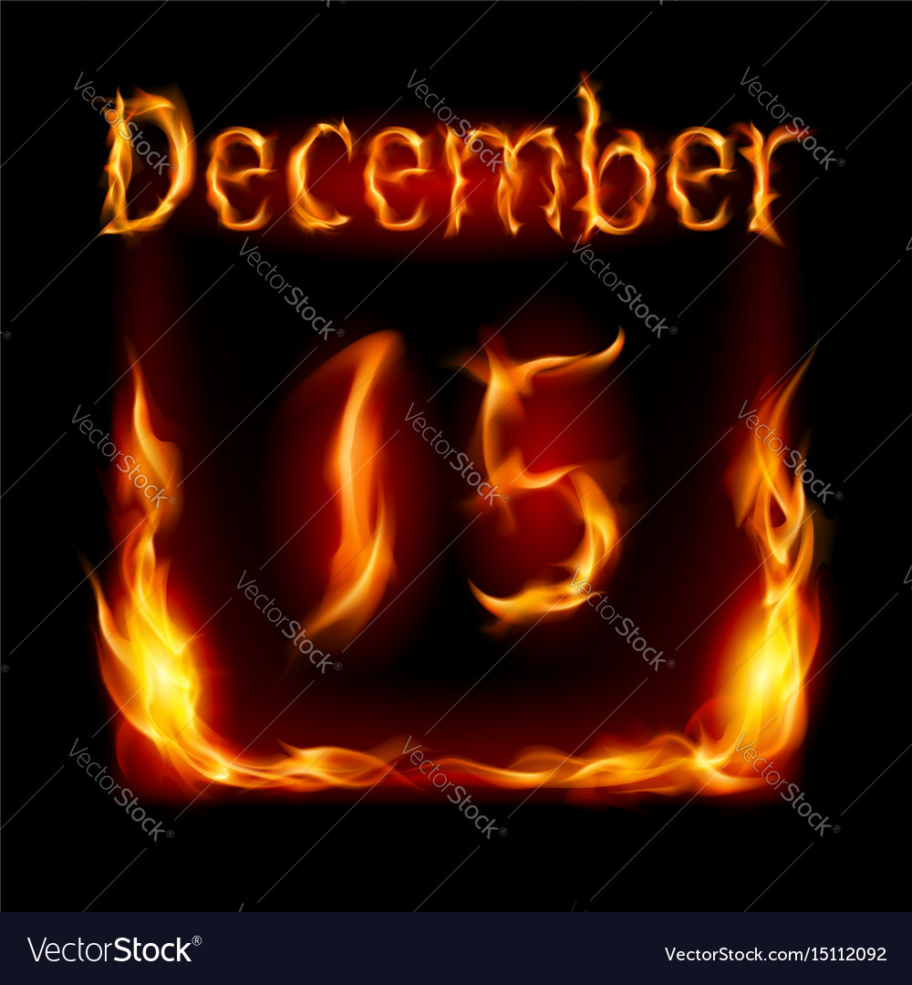 Fifteenth december in calendar of fire icon on