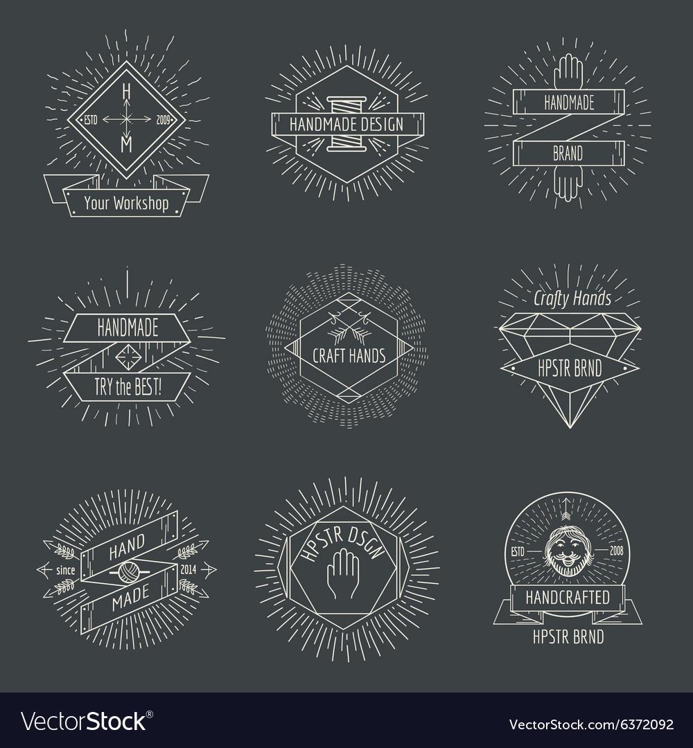 Handmade logo or crafts emblems vintage set