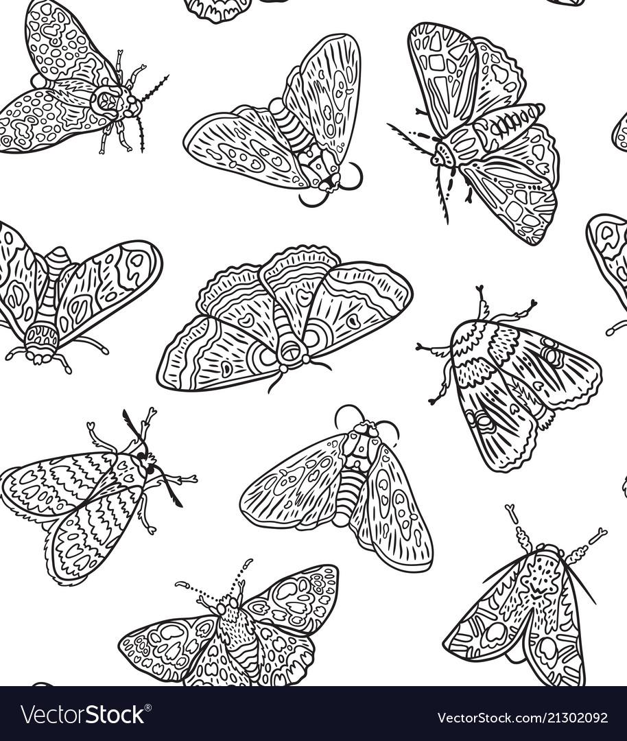 Ink butterflies seamless pattern hand drawn