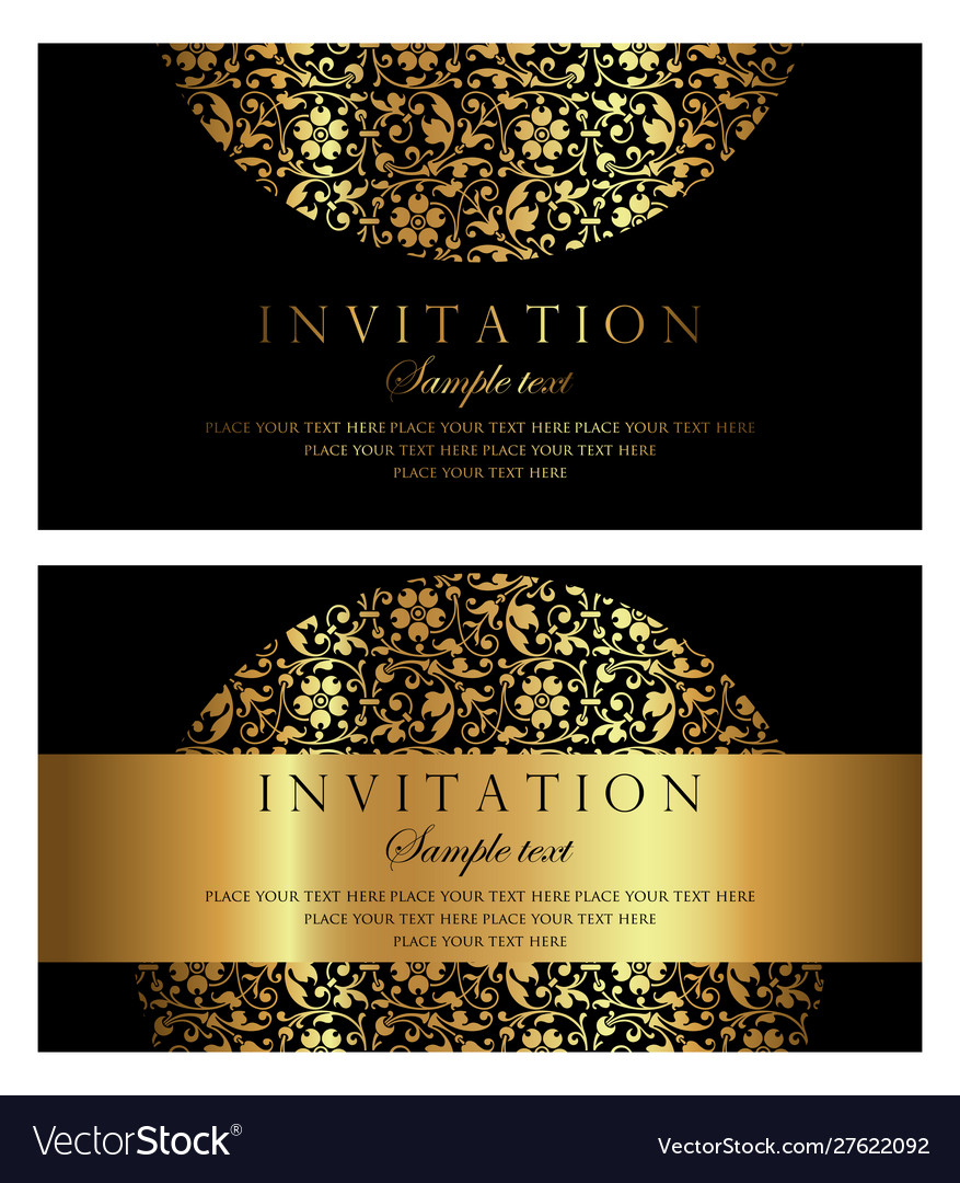 Invitation card design - black and gold style Vector Image