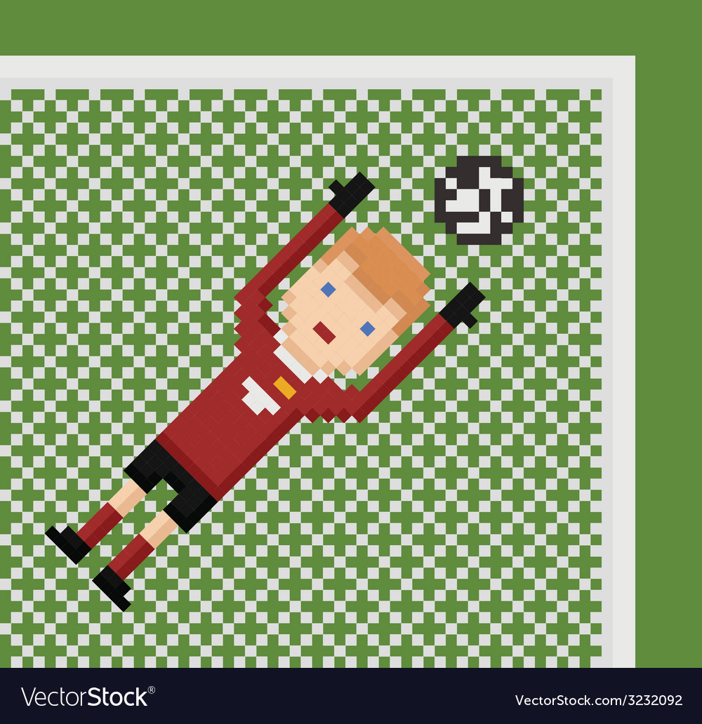 Pixel Art Football Soccer Goalkeeper In Red