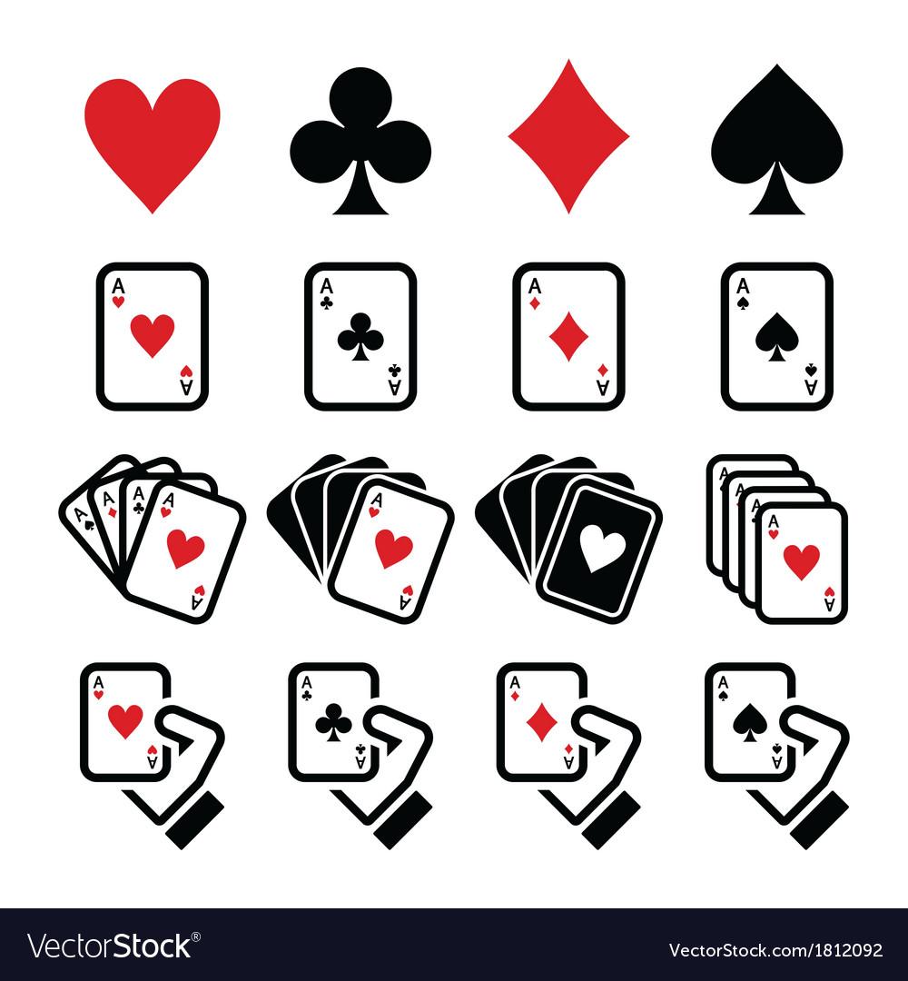 Playing cards poker gambling icons set
