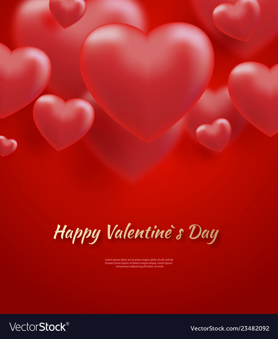 Red valentine s day background with 3d hearts on