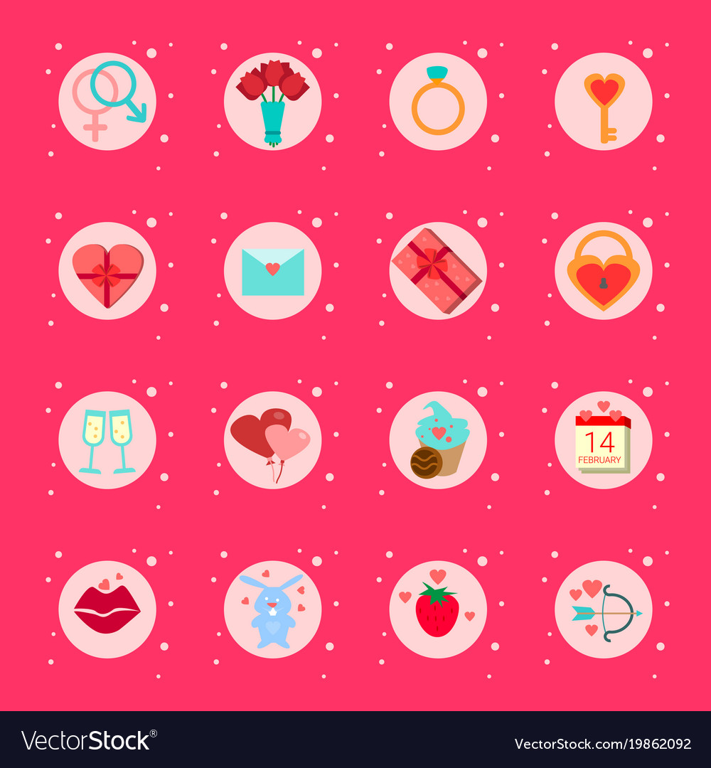 Set valentines day icons presents boxes