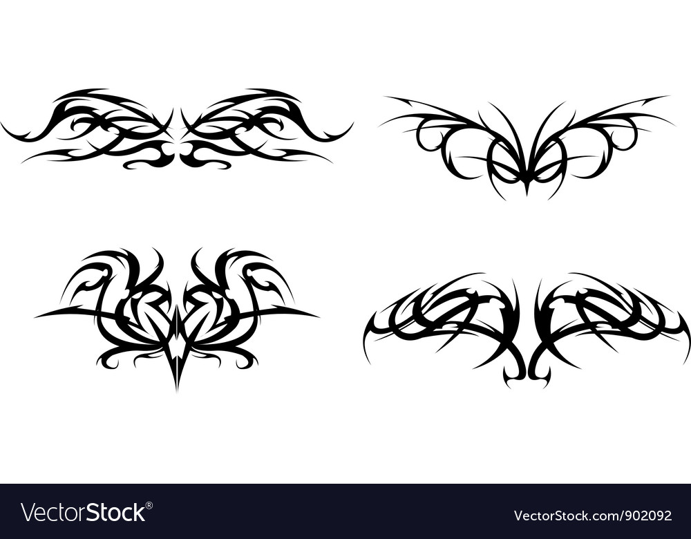 Bedwelming Tribal tattoo designs set Royalty Free Vector Image &NX33