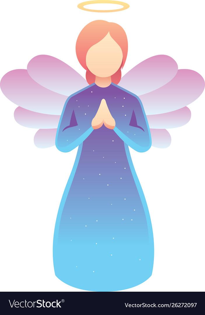 Angel praying on white