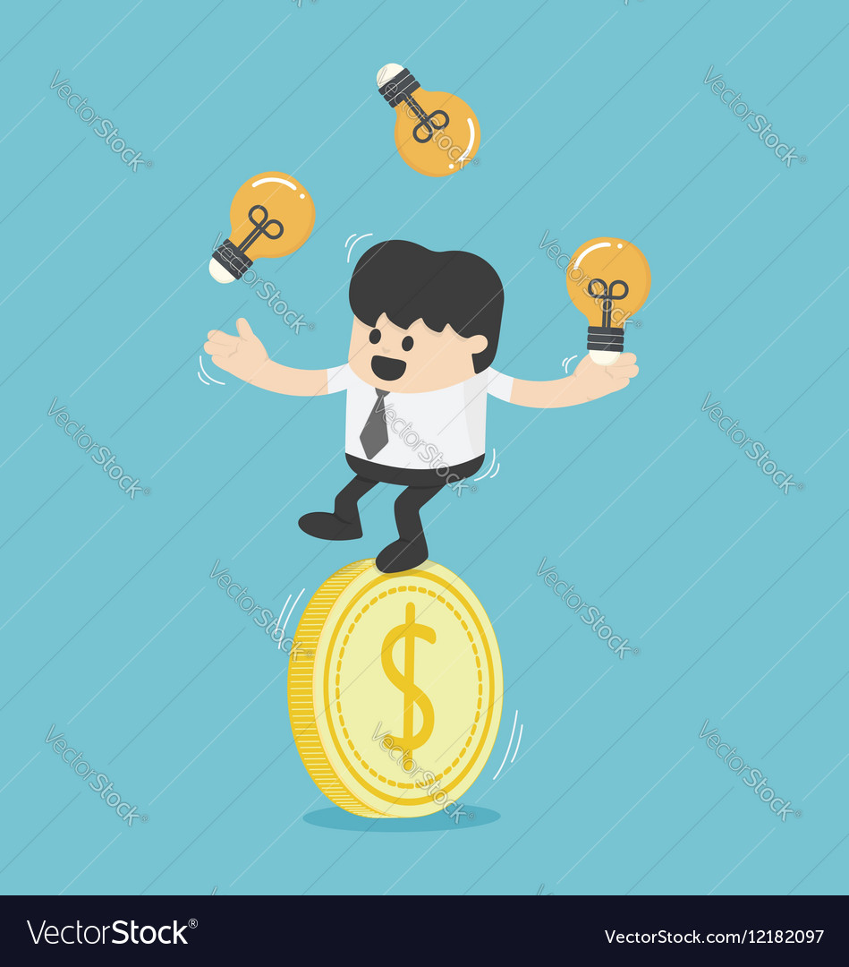 Businessman juggling with light bulbs on a dollar vector image