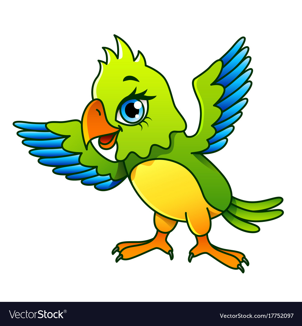 Cartoon parrot isolated vector image