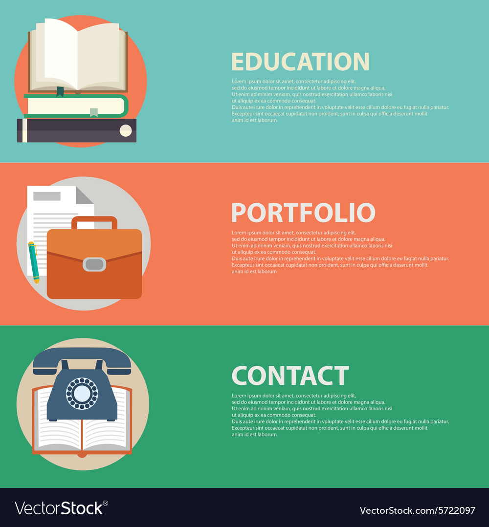 Flat style business portfolio contact and