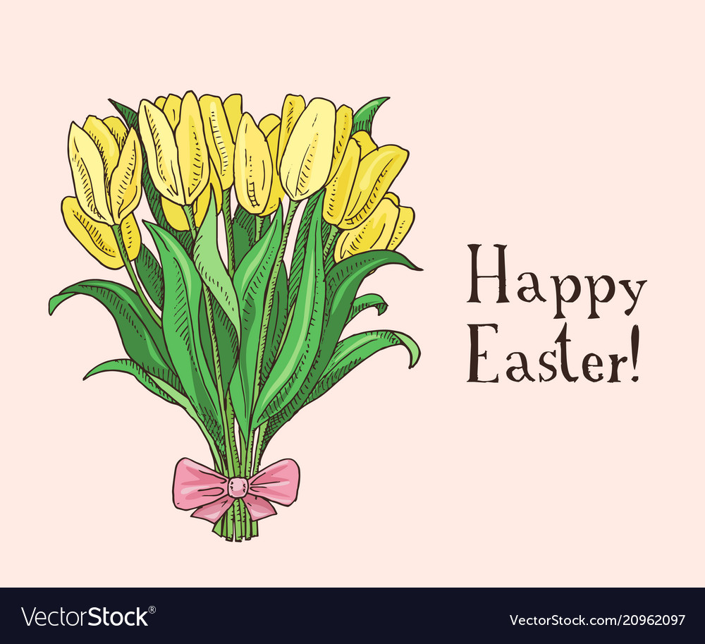Hand drawn easter gift card with tulips