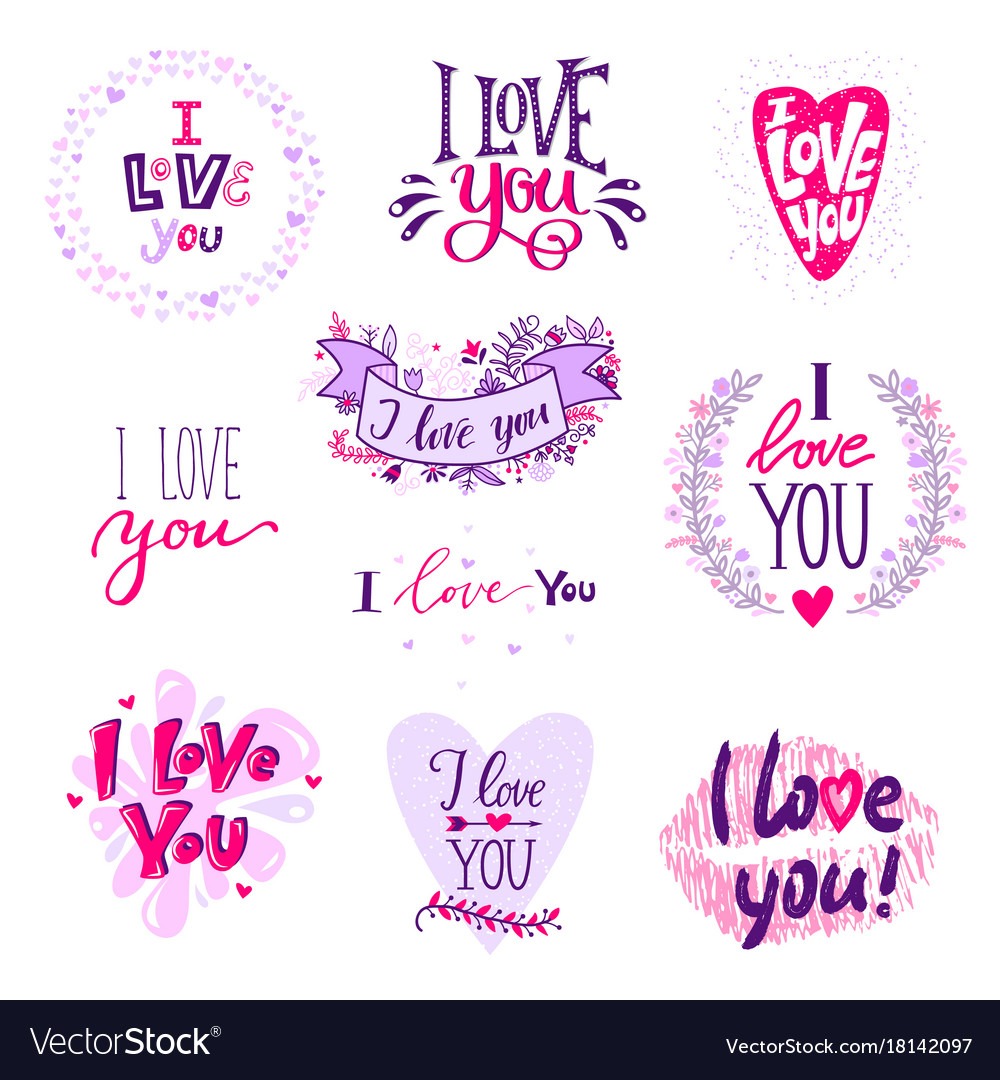 Download I love you calligraphy text phrases valentine day Vector Image