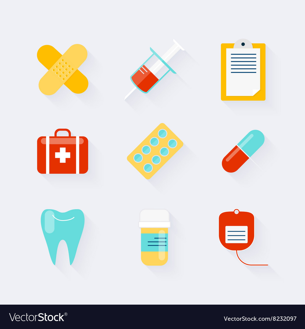 Medicine Icons Set In Flat Design Elements Of Vector Image