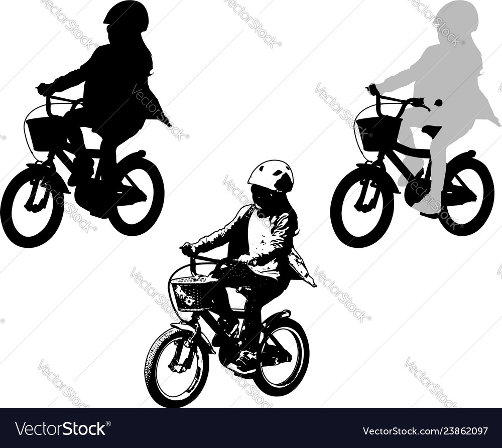 Preschooler girl cycling sketch and silhouette