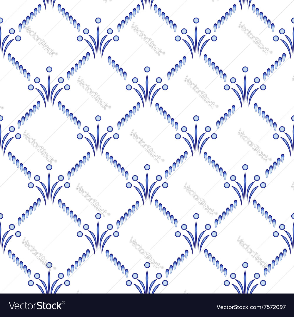 The repeating geometrical pattern in style Gzhel vector image