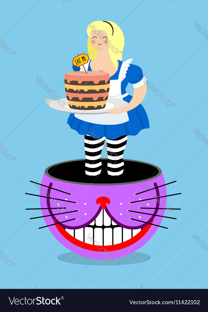 Alice in Wonderland and Cheshire Cat Old fat woman vector image