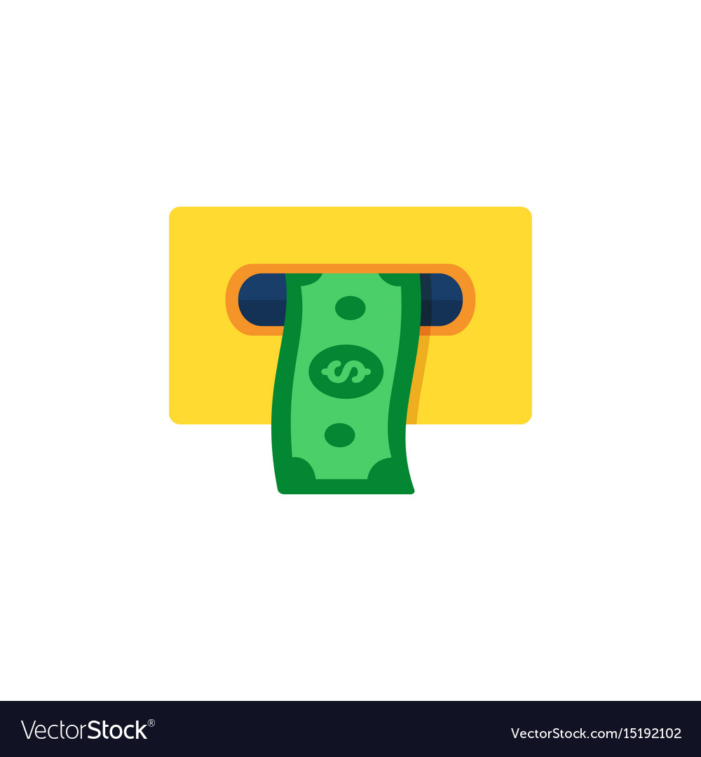 Atm cashout icon flat style