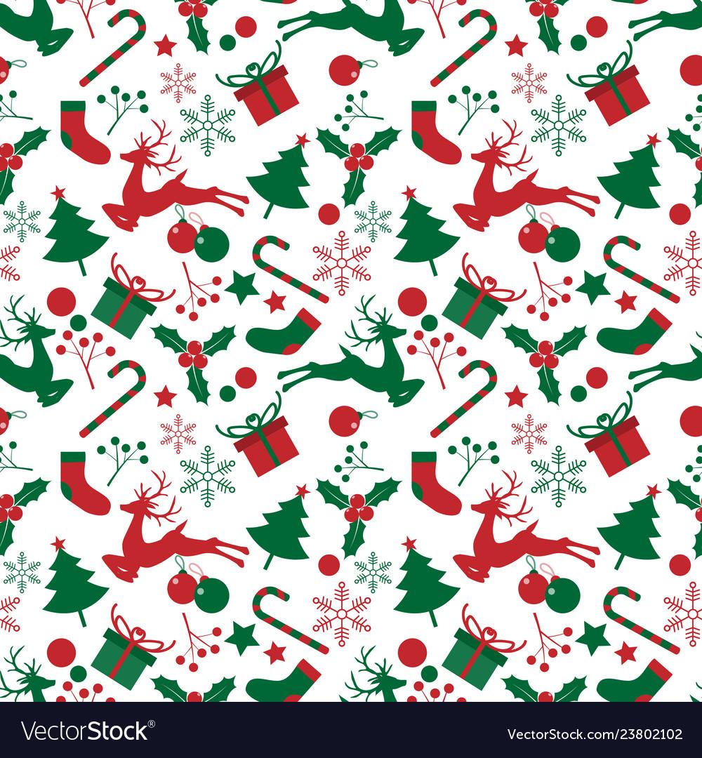 Christmas elements seamless pattern