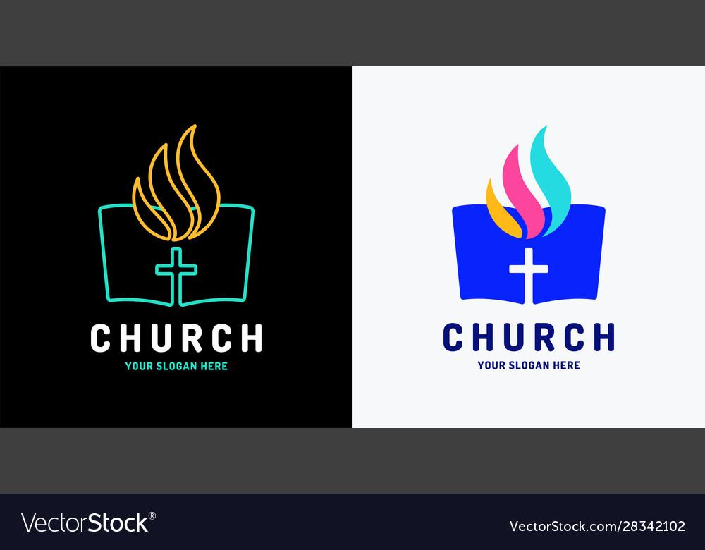 Church logo open bible and holy spirit fire