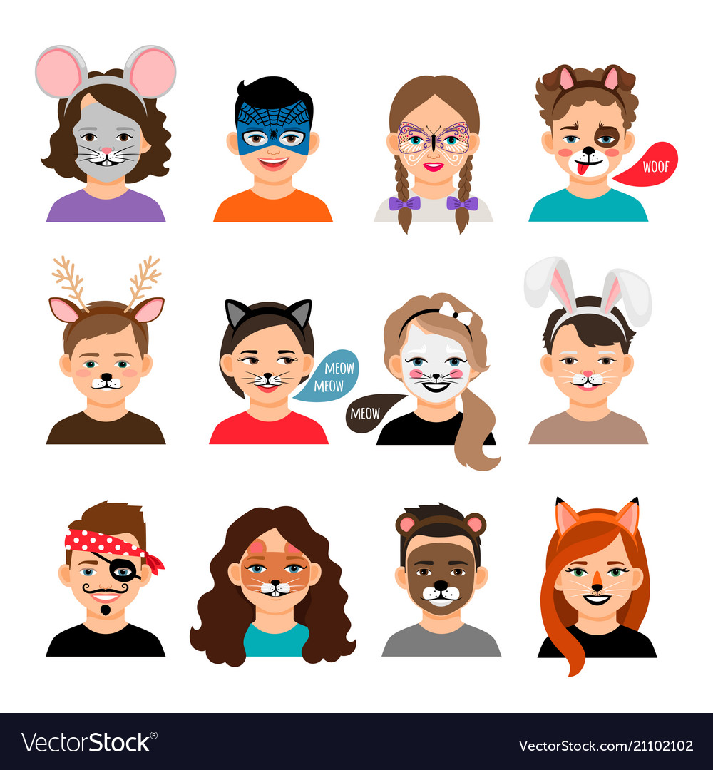 Face Painting Kids Royalty Free Vector Image Vectorstock