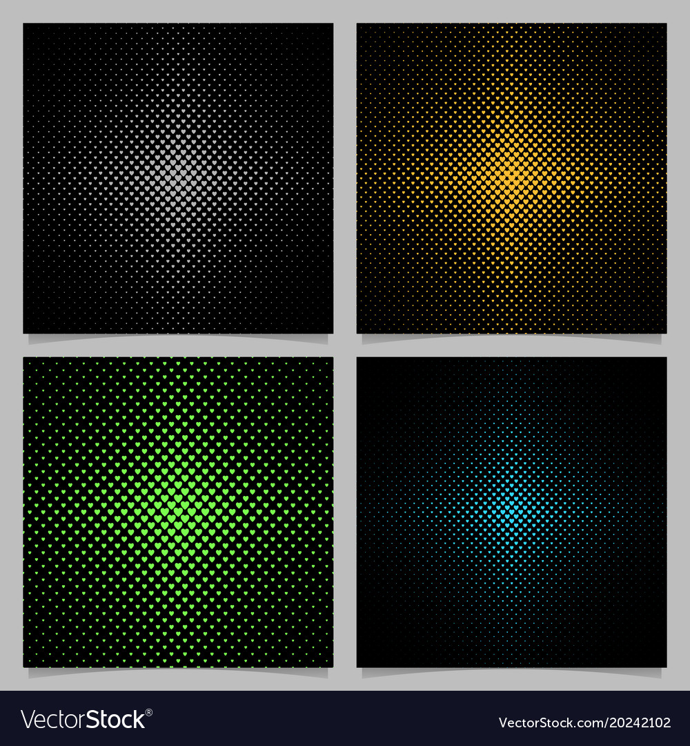 Halftone heart background pattern set vector image