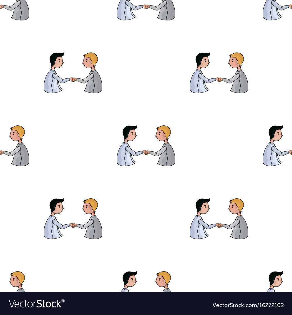 Handshaking of businessmen icon in cartoon style