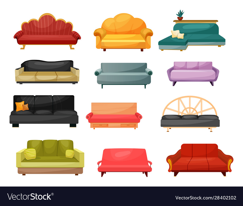 Home Furniture Modern And Classic Sofa Couches Vector Image