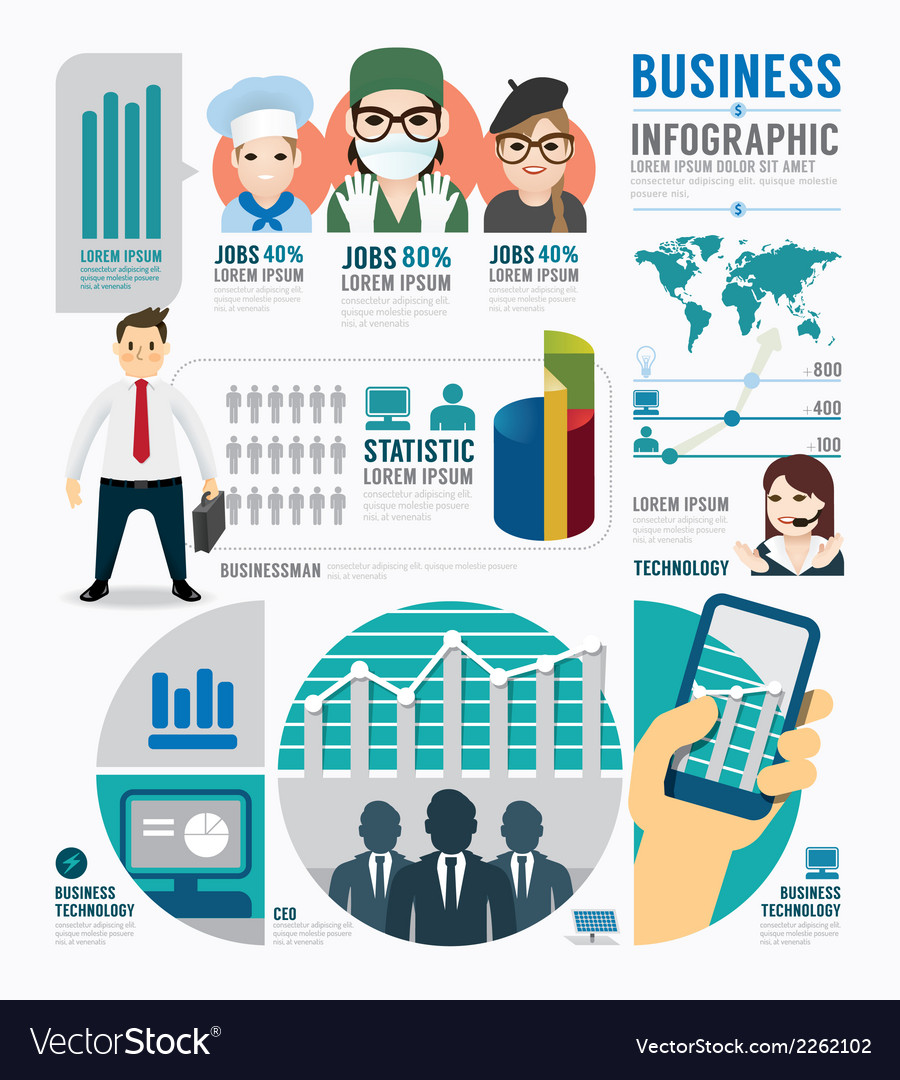 Infographic business job template design concept