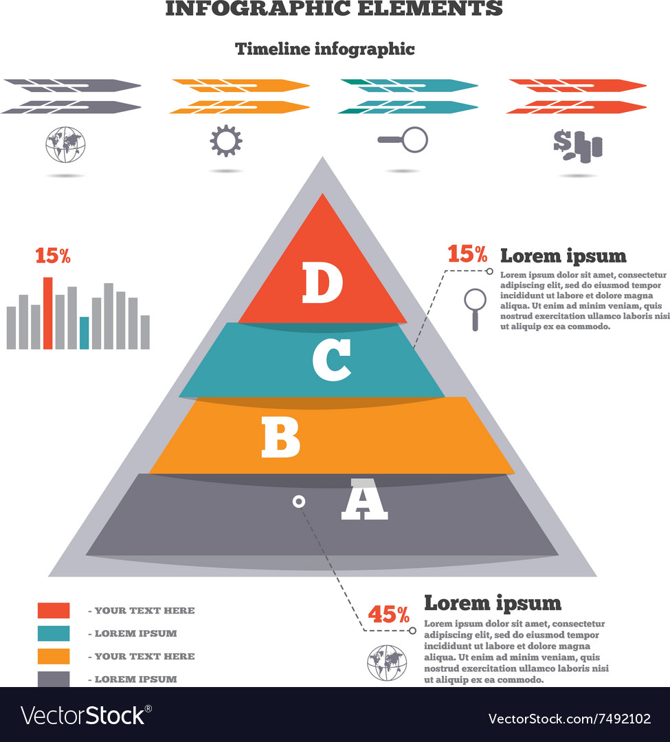 Infographics elements Pyramid chart timeline