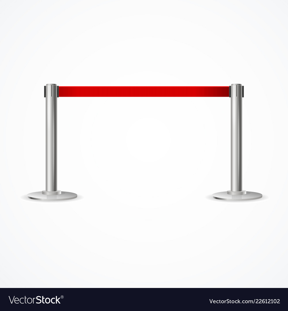 Realistic 3d detailed barrier fence with red tape