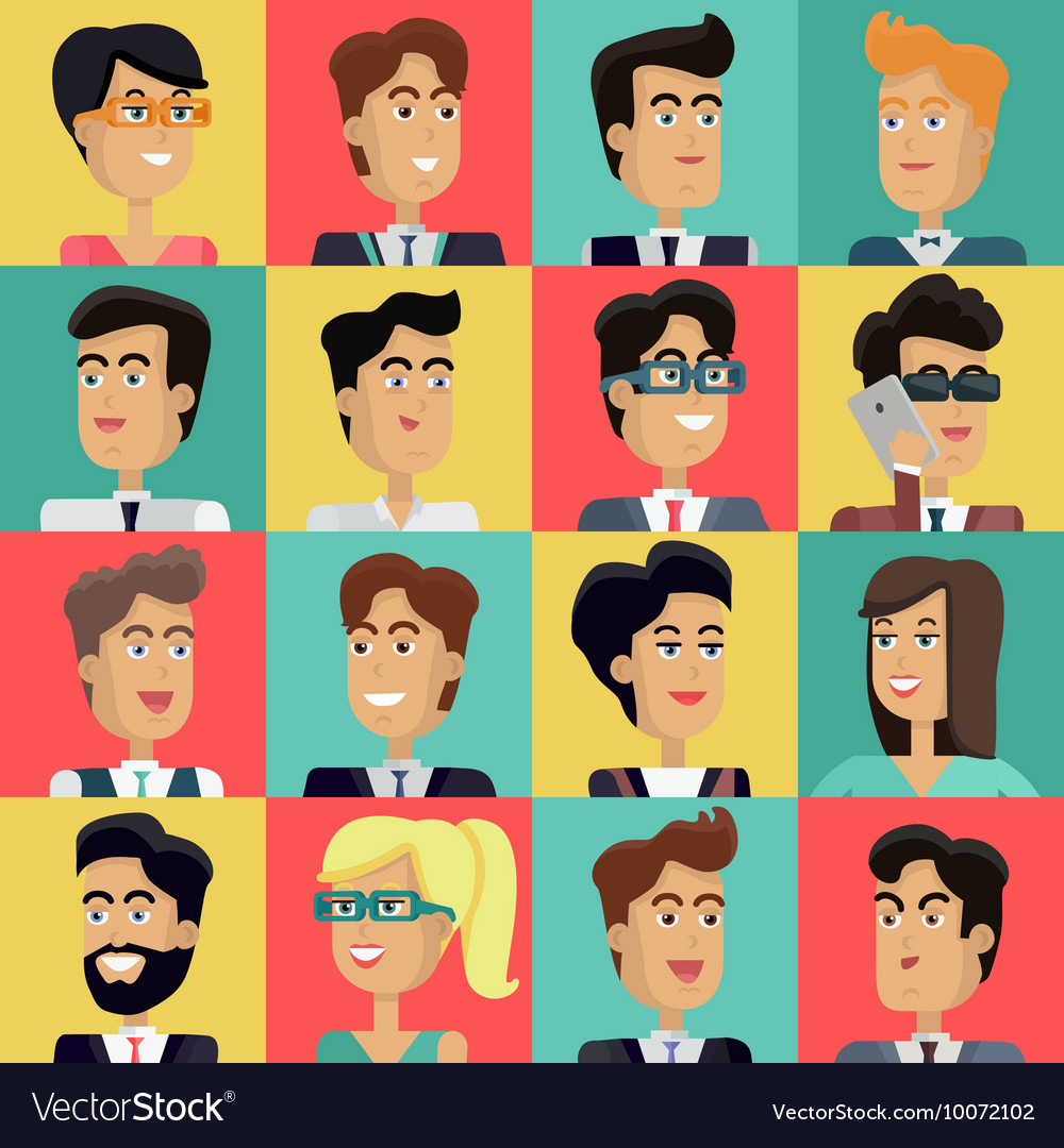 Set Of Peoples Faces In Flat Design