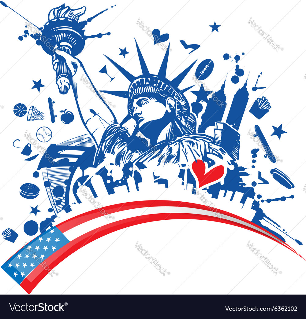 Statue of liberty with icon set on flag